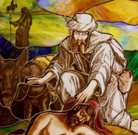 Gebrandschilderd glas scène van Jezus en de zieken