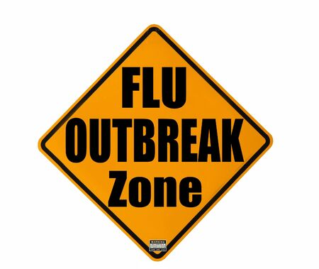 outbreak: yellow warning sign of a flu outbreak isolated over white background Stock Photo