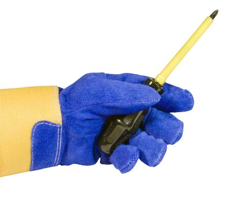 insulated: glove holding an insulated electrical screwdriver