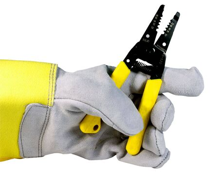 wire stripper held by workers glove isolated over white
