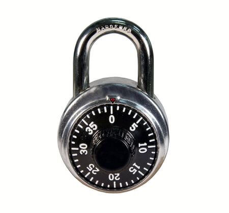 combination: combination padlock isolated over white