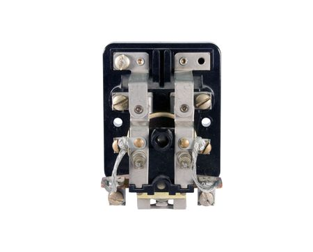 electrical contact switch isolated over white  Imagens