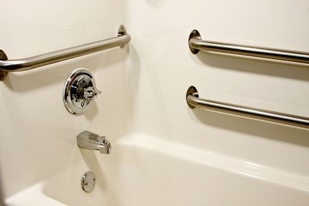 disable: chrome  grab safety bars in a handicap bathtub