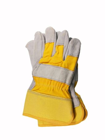 yellow leather work gloves isolated over white Stock Photo - 6981677