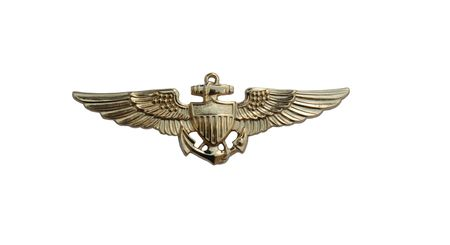 pilot wings: U. S. Navy pilot gold wings isolated over white  Stock Photo