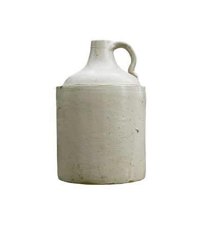 jugs: vintage whiskey crock isolated over white