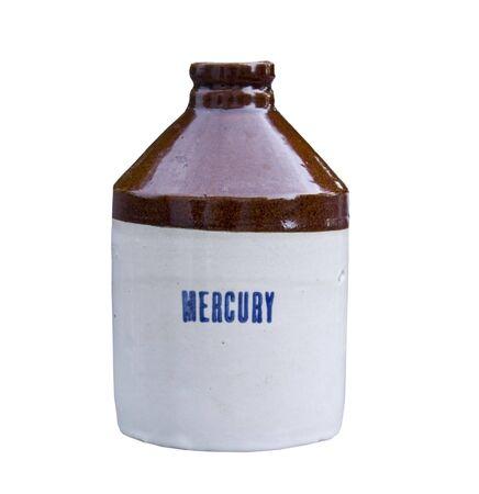 vintage crock jug with mercury printed on the side isolated