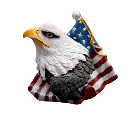 eagle on american flag figurine isolated over white