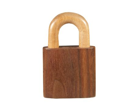 carved wooden padlock isolated Stock Photo - 7537471