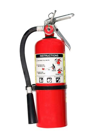 fire hoses: red fire extiguisher