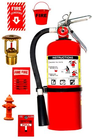 fire protection collection isolated over white background Stock Photo