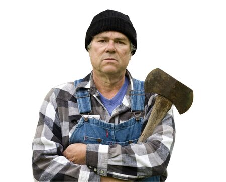 logger: logger portrait in vertical format wearing flannel shirt and stocking cap holding an axe Stock Photo