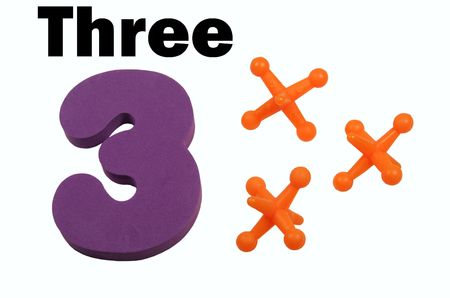 jacks: Three jacks toy jacks with number in digit and spelled form