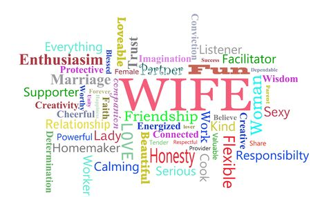 wife word cloud over a white background Фото со стока