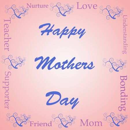 happy mothers day illustration over a gradient word cloud Stock Photo