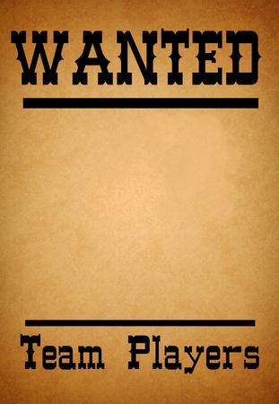 quer�a cartel para los jugadores del equipo al viejo estilo occidental en el viejo papel de grunge