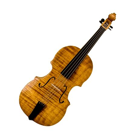 miniature carved violin isolated over white