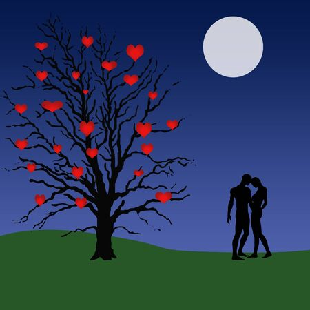illustration of a tree with hearts for fruit on it and a couple standing under a moon lit sky Stock fotó