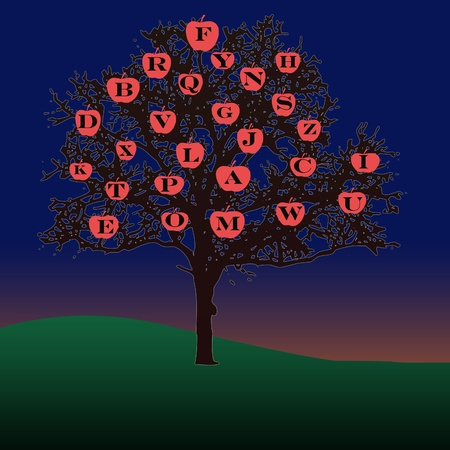 letters of the alphabet on apples of an illustrated tree used as a learning tool to pick the letters 스톡 콘텐츠