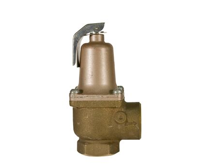 brass safety valve isolated over a white background with a clipping path at original size