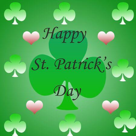 Happy St. Patricks  Day  greeting illustration in green gradient illustration