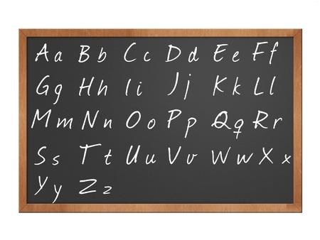 분필로 칠판에 쓰여진 알파벳 그림