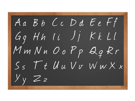 alphabet written in chalk on a blackboard illustration