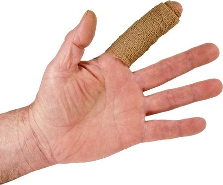 近い被写体トリミング白地に分離した包帯で包まれた人差し指傷害
