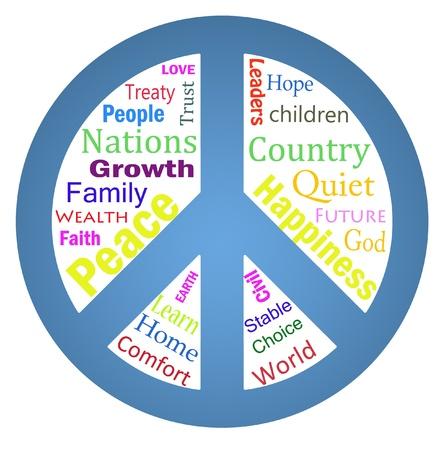 symbol peace: nube de palabra dentro de un s�mbolo de paz aislado sobre fondo blanco