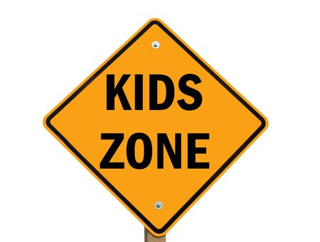 children at play: kids zone warning sign isolated over white background