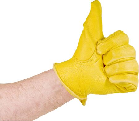 thumbs up gesture of leather gloved hand Stock Photo - 9264059