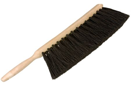 broom handle: hand broom brush over a white background