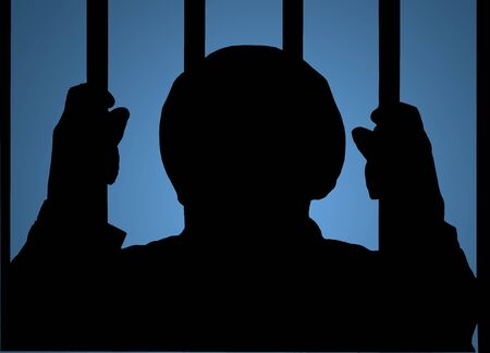 man behind bars silhouette over a gradient blue background