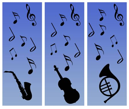 musical instruments and notes silhouettes against a graduated blue background