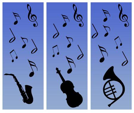 siluetas de instrumentos y notas musicales sobre un fondo azul graduado Foto de archivo - 9450186