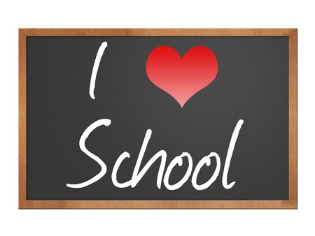 i love school written on a blackboard isolated over a white background Фото со стока