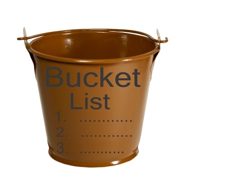 bucket list printed on a bucket isolated over a white background Stock Photo