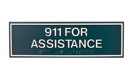 braille: assistance for emergency 911 sign with braille isolated over a white background