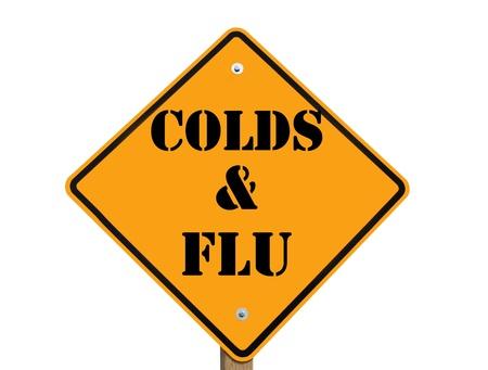 se�al de advertencia de la gripe y el resfriado aisladas sobre fondo blanco