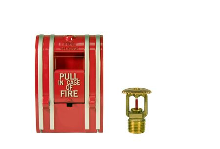 sprinkler alarm: fire alarm pull station and sprinkler valve isolated over a white background with a clipping path at original size