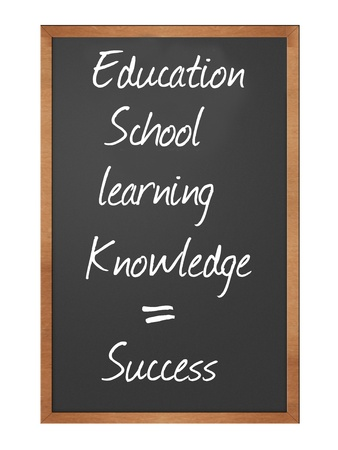 accomplish: blackboard illustration with education, learning, school, and knowledge equals success