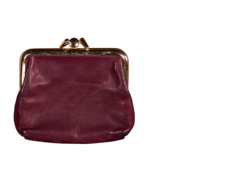 vintage coin purse isolated with a clipping path at original size Banco de Imagens