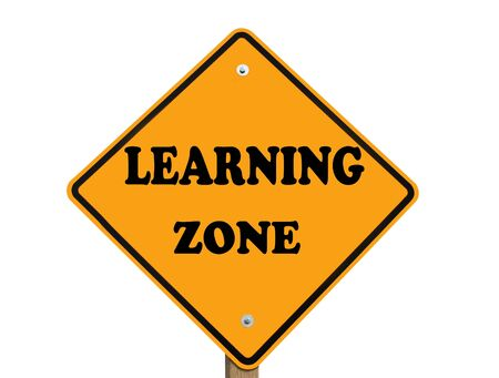 learning zone ondertekenen geïsoleerd op een witte achtergrond