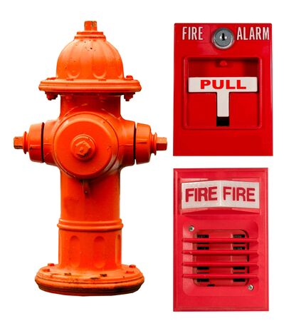 pull over: fire hydrant, pull station and fire alarm collage isolated over a white background