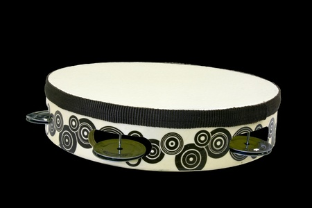 tambourine isolated over a black background with a clipping path at original size Stock Photo