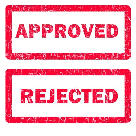 illustratie van goedgekeurde en afgewezen stempels geïsoleerd over een witte achtergrond