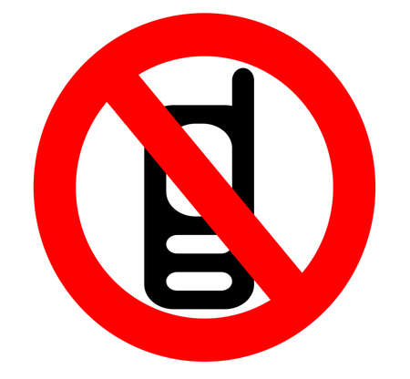 no cell phone icon sign isolated over a white background photo