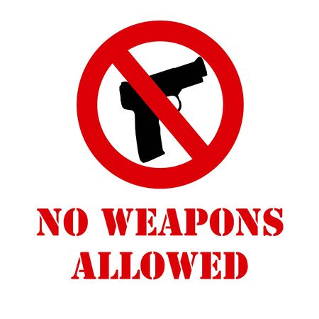 illustrated: no weapons allowed illustrated sign