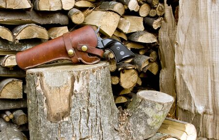 holster: western style revolver against a firewood background