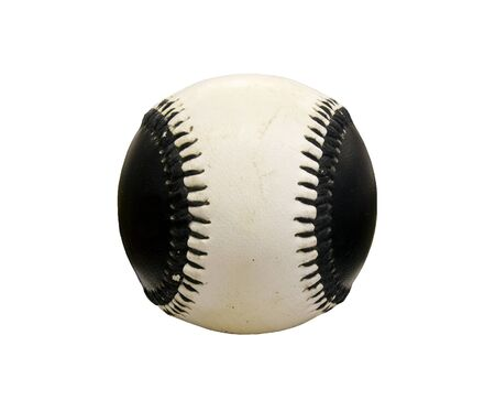 black and white baseball isolated over a white background with a clipping path at original size Stock Photo - 13819290
